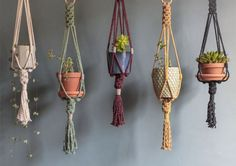 This small macrame plant hanger is handmade using cotton cord with lovely knotting details and a wooden ring for easy hanging. Macrame Plant Holder, Plant Holders, Diy Hanging, Hanging Planters, Macrame Hanging Planter, Diy Crafts To Do, Wood Crafts, Wooden Shapes, Macrame Projects