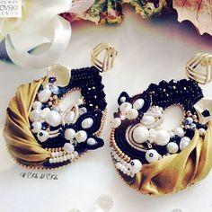 Foglie D'autunno 🍁#coloricaldi #autumn #handmadeaccessory #Swarovski #earrings #italia #soutache #jewelry #soutachejewelry #seda #setaoro #Gold #shiborisilk