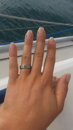 Blue Diamond Anium Wood Ring Hawaii Rings Wedding Hand