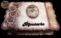 Caixa vintage scrapdecor Rosê-Porta jóias Ateliê Ritarte by Rita Schefler Atibaia-SP-Brasil