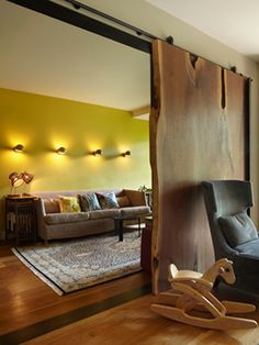 Mid-Century Interior Design with Beautiful Appearance: Cozy Family Room Design Wooden Slide Door Apartment In The West Village