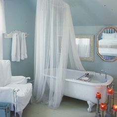 Bathroom Design : Dreamy Small Bathroom Design With White Sheer Curtain And Bathtub Tray Romantic Bathrooms, Beautiful Bathrooms, Romantic Bathtubs, Small Bathrooms, Bathroom Chandelier, Relaxation Room, Other Rooms, Boho, Powder Room