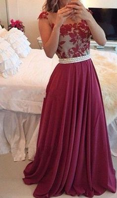 $139-Sheer Lace Burgundy Chiffon Prom Dresses Capped Sleeves Pearls Belt Open Back Modest Formal Long Evening Gowns