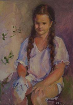 The little gardener - sketch, oil on card