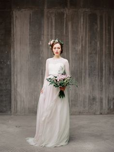Agnia // Long sleeve wedding dress Wedding gown by Milamirabridal