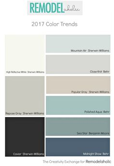 Popular and trending paint colors | Tips for choosing the right paint color | Best interior paint colors | Learn more about picking the perfect paint color by examining the upcoming paint color trends for 2017. From neutral grays and whites to dramatic blacks and transitional neutral blues, there's something you're sure to love. @Remodelaholic