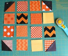 Patchwork Pumpkin quilt block and table runner tutorial - Diary of a Quilter - a… Halloween Quilts, Halloween Quilt Patterns, Fall Halloween, Halloween Crafts, Halloween Sewing Projects, Fall Crafts, Mini Quilts, Quilting Tutorials, Quilting Projects