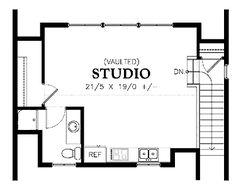 Garage with Studio Apartment Above (HWBDO67359) | House Plan from BuilderHousePlans.com