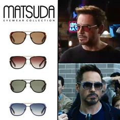 Matsuda Sunglasses M3023 worn by Tony Stark in Iron Man 3. Available in 4 different colors and two different sizes.  #tonystark #ironman #matsuda #robertdowneyjr