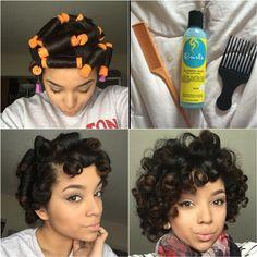 Another perm rod set Pelo Natural, Natural Hair Tips, Natural Hair Journey, Natural Hair Styles, Going Natural, Natural Curls, Roller Set Natural Hair, Love Hair, Gorgeous Hair