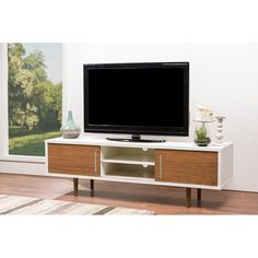 Contemporary Walnut/White TV Stand - Gemini | RC Willey Furniture Store