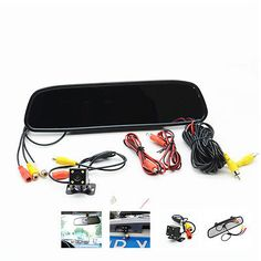 "4.3"" lcd color monitor car reverse rear view mirror night vision backup camera universal for auto suv pickup offroad. camera+display kit front as photos shown yes butterfly bracket,black shell,av interface"