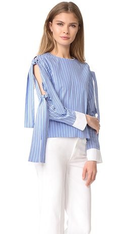 ENGLISH FACTORY Tie Sleeve Blouse | SHOPBOP