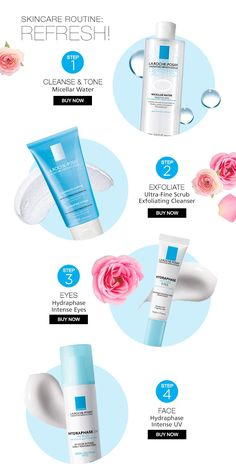 Step Cleanse with Micellar Water Step Exfoliate with Ultra-Fine Scrub Step Care for your eyes with Hydraphase Intense Eyes Step Moisturize with Hydraphse Intense UV with SPF Mise En Page Web, Home Spray, Roche Posay, Cosmetic Design, Beauty Ad, Promotional Design, Catalog Design, Tips Belleza, Skin Treatments
