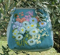 Embroidery Bag Silk Ribbon Embroidered Flowers Clutch Purse Bag