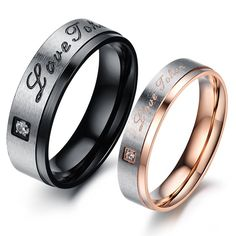 """ Love Taken "" Titanium Steel Lover Rings With CZ Inlaid"