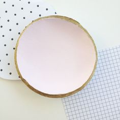 Pink Clay Ring Bowl // gold rim by MaypoleDesign on Etsy