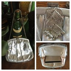 "Vtg Silver Metallic Handbag w Silver-Tone Chain Vintage HL USA Silver Metallic handbag w/a gorgeous silver-tone rhinestone embellished metal top closure & an adjustable chain to use as a shoulder or handbag. Inside lined in a golden ivory satin fabric w/a side pocket. All sides shown. Measures 8-1/2"" wide across bottom x 7"" long (add 13"" or 7-1/2"" for chain drop) x 1"". In wonderful preowned vintage condition except back side has a tiny stain at top (nail-polish?) and small section of inside…"