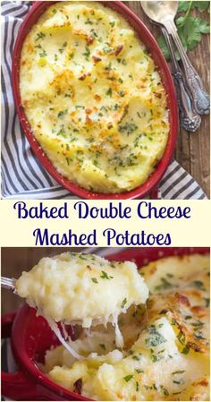 Double Cheese Mashed Potatoes, baked with mozzarella & parmesan cheese, Italian parsley the perfect side dish for Thanksgiving & Christmas. Ranch Potato Recipes, Mashed Potato Recipes, Homemade Mash Potatoes, Twice Baked Potatoes Casserole, Potatoe Casserole Recipes, Mashed Potatoes With Cheese, Parmesan Mashed Potatoes, Italian Potatoes, Christmas Side Dishes