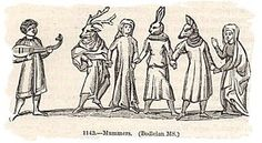 medieval manuscript showing Mummers with their musician - a Bodleian manuscript