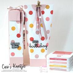 """Caro's Kaartjes on Instagram: """"Twee vrolijke verpakkingen gemaakt. Een cadeautje voor ons buurmeisje.  Wil je weten wat erin zit? Kijk dan even op mijn blog. 😊 (klik…"""" Box Bag, Kylie, Stampin Up, Decorative Boxes, Office Supplies, Birthday, Gifts, Handmade, Instagram"""