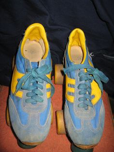 1970  Super Cool blue yellow leather tennis by Linsvintageboutique, $75.50