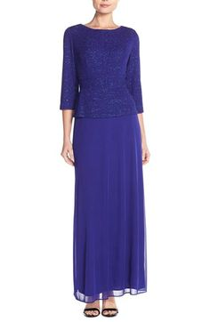 Alex Evenings Jacquard & Chiffon Mock Two-Piece Gown available at #Nordstrom