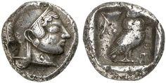 AR Tetradrachm. Greek Coins, Italy, Attica, Athens. Circa 500 BC. 17,43g. Good VF. RR! Price realized 2011: 15.000 USD.
