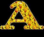 Alfabeto de margaritas con efecto tintineante.