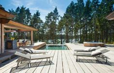 Situated on the Strömsö group of private islands off the southern coast of Finland, Villa Korsholmen is the epitome of an exclusive island getaway. Outdoor Crafts, Outdoor Decor, Villa, Backyard, Patio, Pool Designs, Beautiful Buildings, Cladding, My Dream Home