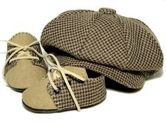 How cute are these?!?   Lucas Baby Boy Hat and Shoes Houndstooth and Linen by pink2blue, $58.00