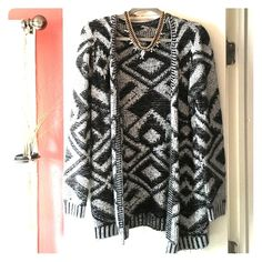 Grey & Black Aztec Knit Sweater Cardigan This piece has been shown some love, but still in good condition; no snags or holes. Perfect for layering in fall/winter! Necklace pictured is also available in separate listing! Reasonable offers considered, thanks for looking! Charlotte Russe Sweaters Cardigans