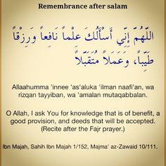 Remembrance/Duaa after salaam @ Fadjr prayer