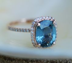 Blue Green sapphire engagement ring. Teal by EidelPrecious on Etsy