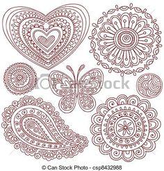 Vettore di henné, Doodles, disegno, elementi, set - henné, mehndi,...csp8432988 - Cerca clipart, illustrazioni, disegni e immagini grafiche vettoriali EPS clipart