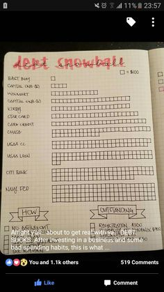 Journal debt tracker bullet journal bujo saving