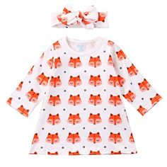 Toddler Baby Girls Cute Fox Mini T Shirt Dress Top  Headband Outfits Clothes Set 70  36 months orange *** Want to know more, click on the image.Note:It is affiliate link to Amazon.