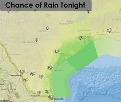 Coastal regions of Texas will see scattered thunderstorms today and tonight with local downpours and frequent lightning. Get the complete weather forecast on our weather blog.  http://texasstormchasers.com/?p=39507 - David Reimer