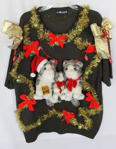 Deb Rottum's *** Tacky Ugly Christmas Sweater Women's Size 2X 3X 4X    CATS! #sagharbor #sweater