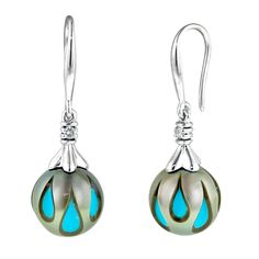 Galatea Tahitian Hand Carved Pearl Earrings in 14kt White Gold with Diamonds     (.04ct tw)