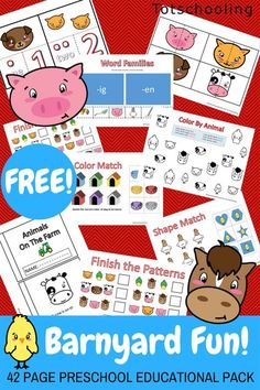 Farm Preschool Pack is part of Barnyard Fun Farm Preschool Pack Totschooling Toddler - FREE printable Farm Pack for preschoolers featuring fun activities and worksheets to practice counting, letters, numbers, shapes, colors and more! Farm Activities, Printable Activities For Kids, Animal Activities, Preschool Printables, Kids Learning Activities, Alphabet Activities, Kindergarten Activities, Free Printables, Preschool Curriculum