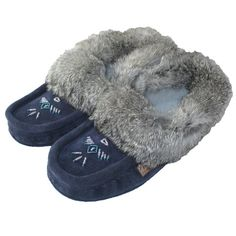 Beaded Navy Moccasin Slippers with Rabbit Fur