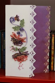 border punch and quilling Arte Quilling, Paper Quilling Designs, Quilling Paper Craft, Quilling Flowers, Quilling Patterns, Paper Crafts, Homemade Christmas Cards, Homemade Cards, Quilled Creations