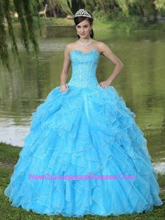 Long, Blue, Quince Dress. (Quince4Emily)