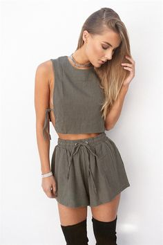 Buy Khaki Crepe Top Online - Tops - Women's Clothing & Fashion - SABO SKIRT