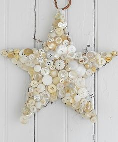 beautiful idea.. beach cottage? similar-sized buttons and shells are made for eachother.
