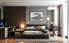Dark Master Bedroom CB House on Behance Dark Master Bedroom, Master Bedroom Interior, Modern Bedroom Design, Master Bedroom Design, Bedroom Decor, Bedroom Styles, Bedroom Colors, Accent Wall Bedroom, Home Design Plans