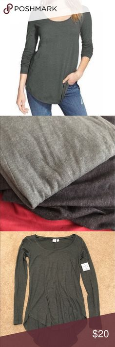 Fall Long Sleeve Tee Top Layer Layering Grey Tunic Urban grey, looks almost like an olive green or light forest green when you compare to grey. CHECK MY OTHER ITEMS, BUNDLE AND OFFER!! I have this in grey, black and striped too. bp Tops Tees - Long Sleeve