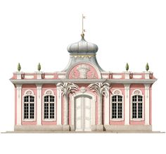 The Apiarist's House at Schönbusch, an unrealized project for a provincial estate in northern Bavaria. This charming rococo design, with its tented Turkish roof and stucco-work palm pilasters, was the work of the architect E.J. von Herrigoyen, who designed a number of pavilions still standing in the estate's extensive landscape park.   From www.ArchitecturalWatercolors.com