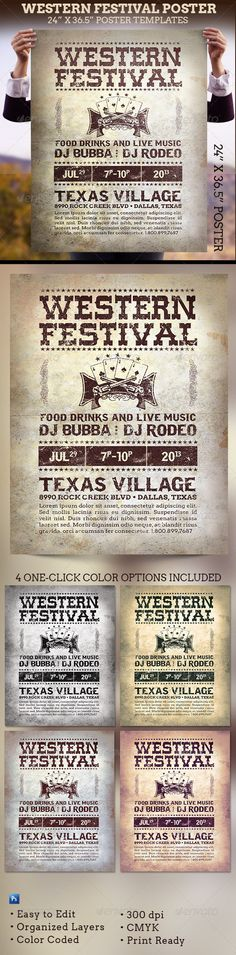 Western Festival Poster Template  - Signage Print Templates